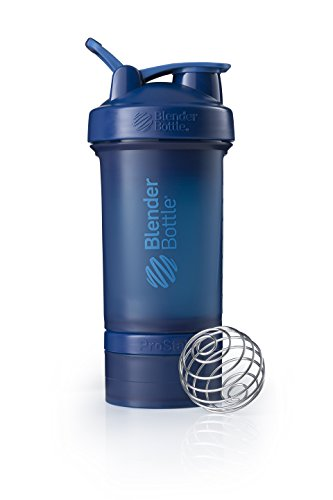 Blender Bottle Prostak Protéine Shaker / Bouteille d'eau avec boîtes supplémentaires 100,150 ml + compartiment à pilules - Bleu (Marine) - 650 ml