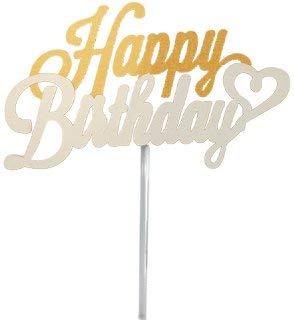 ケーキトッパー Happy Birthday(ホワイト) お誕生日 お祝い SBP-005