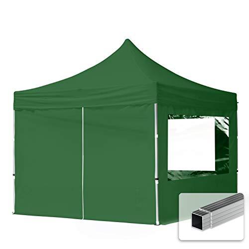 TOOLPORT Faltpavillon Faltzelt 3x3m - 4 Seitenteile 32mm ALU Pavillon Partyzelt PES300 100{6f771334d54bda00e8c050346797cb570fd7bb671765b7d5585352da38190aa8} WASSERDICHT grün