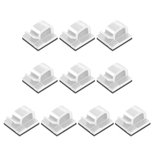 10 piezas Autoadhesivo Pegamento Clip de alambre Soporte de fijación Soporte de cable de plástico cuadrado Fijación Abrazadera de red Escritorio TV Cable coaxial Soporte de cable Clips de administraci