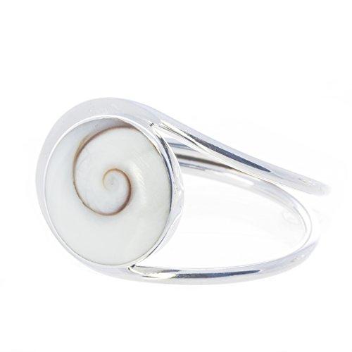 Bella Carina Damen Ring mit 1 Shiva Auge groß, verstellbar, 925 Sterling Silber