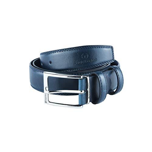 Sergio Tacchini Cintura Uomo Esterno PU Interno Pelle, Fibbia Nickel Free (125 (tg 54-56), Blu (442) 3,5 cm)