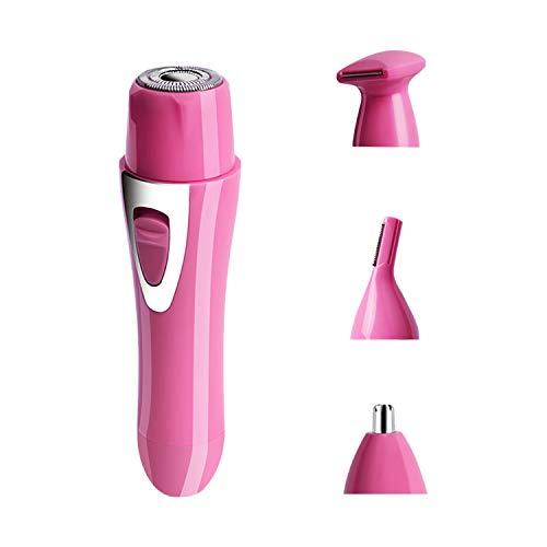 Elektrischer Damenrasierer 4 in 1 Frauen Trimmer USB Wiederaufladbar Bikini und Körper Trimmer Gesichtshaarschneider Nasentrimmer Augenbrauentrimmer Haarschneider Rasur für Damen (Rosa)