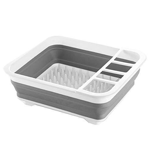 QAVILFLY Estante de secado de platos, estante grande y juego de escurridor, escurridor de platos plegable, organizador de vajilla portátil, bandeja de almacenamiento de cocina para ahorrar espacio
