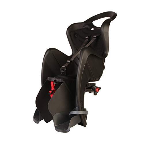 b bellelli Mr Fox - Seggiolino Posteriore per Bicicletta - per Bambini Fino a 22 kg, da 3 a 8 Anni - Si Fissa al Telaio, Reclinabile - Nero