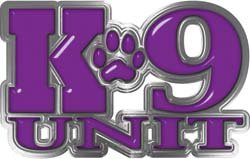 Reflective K9 Unit with Dog Paw Law Enforcement Decal in Purple - 11.5' h x 18' w - REFLECTIVE