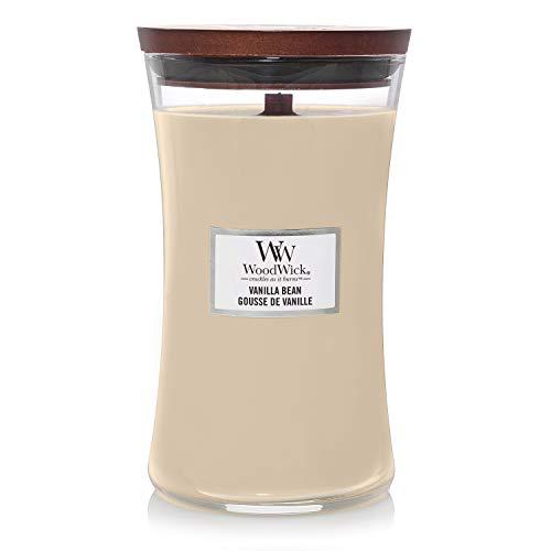 Große WoodWick Duftkerze im Sanduhrglas mit knisterndem Docht, Vanilla Bean, bis zu 130 Stunden Brenndauer