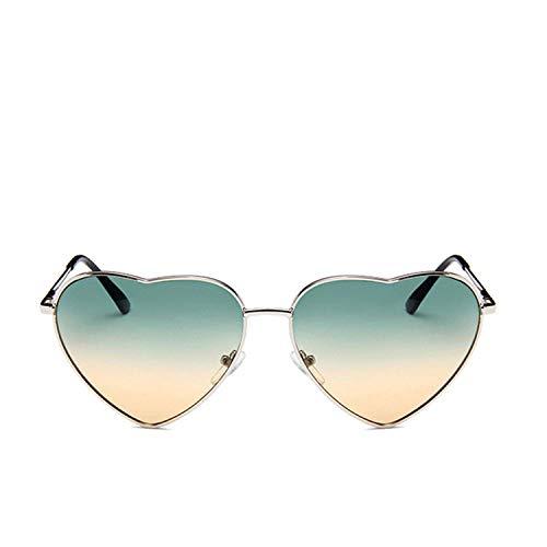 WERERT Gafas de Sol Deportivas,Vintage Heart Sunglasses Women Candy Color Gradient Sun Glasses Outdoor Goggles Party