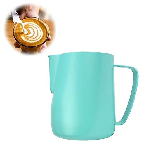 XGQ Jarra de Leche 0.3-0.6L Acero Inoxidable espumejea Pitcher Tire Copa de la Flor del café de la Leche vaporizador Latte Art Espuma de Leche Herramienta Coffeware, Capacidad: 350 ml (Negro)