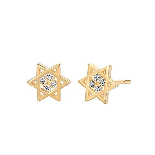 Kleine Magen Davidstern Hexagramm Geometrische Ohrstecker für Frauen israelischer Ethnischer Glaube jüdischer Schmuck Geschenke für Mädchen