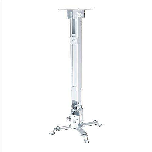 PureMounts PM-SPIDER-40W - Neigbare Decken- / Wandhalterung für Beamer und Projektor, Lochabstände bis 316mm, Deckenabstand 430mm bis 650mm, Tragkraft 20kg, Farbe weiß