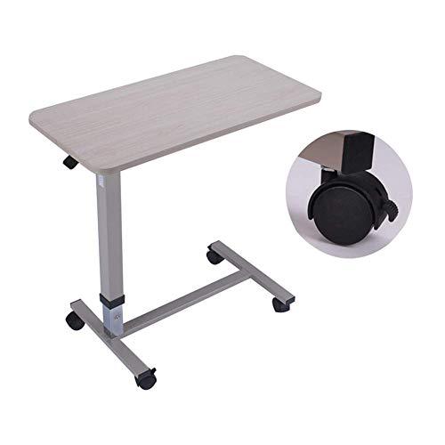 Möbeldekoration Nicht kippbarer Betttisch mit höhenverstellbaren Rädern 31.3 43.3In Hydraulic Locking Caster Wheels Laptoptisch für Bett Bettablagen zum Essen beige