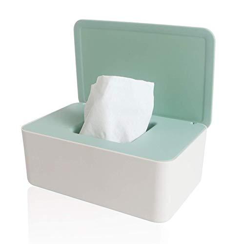 TTSDRD Caja de toallitas húmedas, Caja de Almacenamiento de pañuelos, Funda para dispensador de toallitas húmedas, Soporte con Tapa para el hogar y la Oficina (Color : Green, Size : 18.5X12.2X7cm)