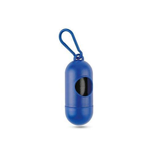 Dispensador de Bolsitas Coletoras de Excremento de Perros y Mascotas - Porta Bolsas de Desechos Heces Caca + 15 Bolsas (Azul)
