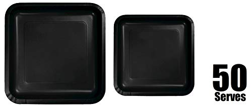 100 Count Square Black Paper Plates | 50~9' Dinner Paper Plates | 50~7' Dessert Paper Plates | Black Party Theme