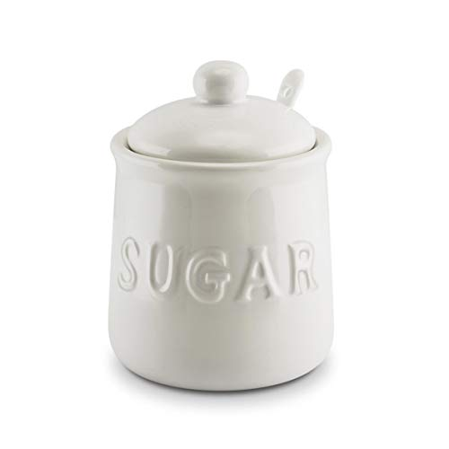 KOVOT 10 oz Ceramic Sugar Jar & Spoon Set | White