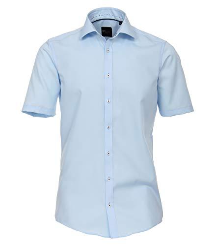 Venti Herren Businesshemd Kurzarm Uni Slim Fit Hellblau 41