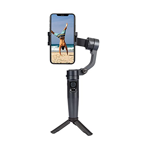 XJST Stabilizzatore Gimbal A 3 Assi, Telefono Pieghevole del Palmare Gimbal, Anti-Shake Pieghevole Gimbal Holdheld Selfie Stick Treppiede per iPhone Android