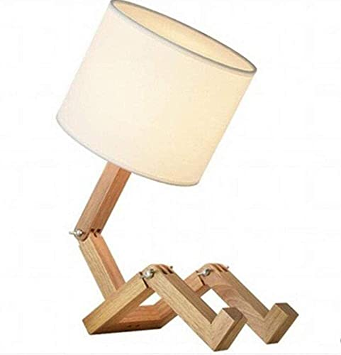 Dightyoho Lámpara Escritorio Lámpara de Mesa Robot lámpara de Noche, Pantalla de Tela con Cuerpo de Madera Maciza Plegable, lámpara de Mesa Creativa, Blanco, A