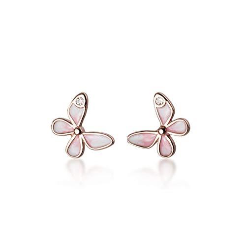 xMxDESiZ Pendientes 925 STERLINAL Silla Minimalista Zircon Butterfly Stud Poder para la Fiesta Fiesta de Las Mujeres Lindas Accesorios de joyería Fina Accesorios de joyería (Gem Color : Rose Gold)