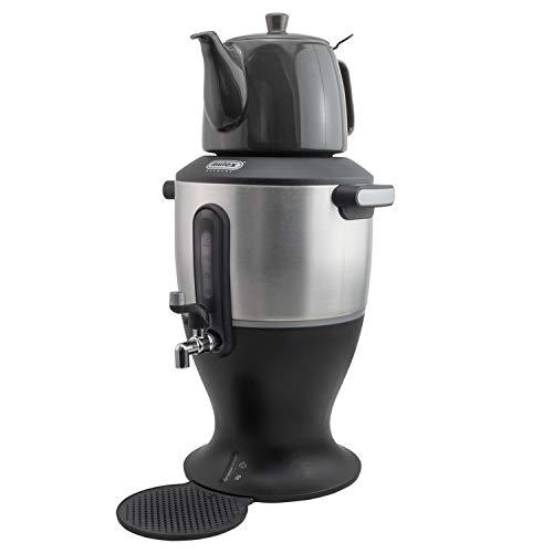 Samowar Theekoker Modern elektrisch roestvrij staal 4,5 l waterreservoir 1,3 l theepot zwart-zilver caykolik 1.0 3.0 Liter Inox-zwart