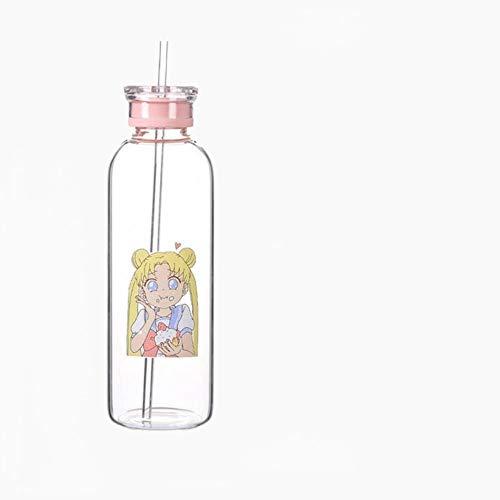 Copas De Champán, Tazas, Regalos Bebidas Botellas De Vidrio Botella De Agua Kawaii Vidrio Amigable Con Una Pajita Vasos Tazas Lindas Botella De Agua Mi Botella
