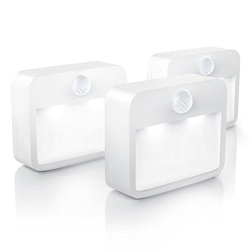 Brandson - 3 x Luz LED de Noche con Sensor de Movimiento y de claridad Sensor de oscurecimiento - Lámpara de Noche, inalámbrica a Pilas Luz de Noche con Pila