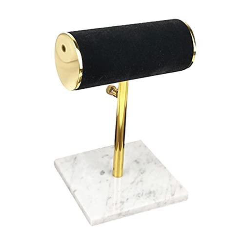 FFLJT Mármol Base T-Bar Joyería Pulsera Collar Reloj Pantalla Soporte Soporte (Color : Black)