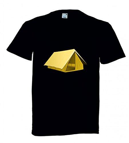 Druckerlebnis24 Camiseta de Acampada, Tienda de campaña, descripción de Pista para Hombre, Mujer, niños, 104 – 5 x l Negro Talla del Hombre: XXX-Large