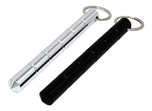 ocona Kubotan, 2 Stück, Selbstverteidigung, Schlüsselanhänger, Notfallhammer (silder rund + schwarz rund)