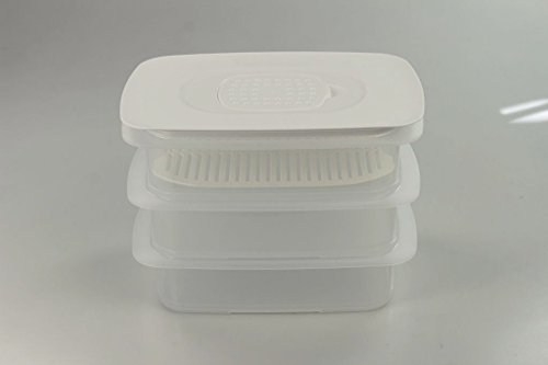 TUPPERWARE Cool`N Fresh 1,5 L (3) container + versrooster wit + airco deksel