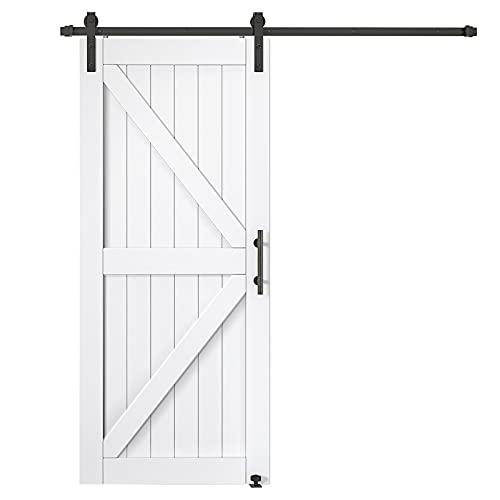 EaseLife 36in x 84in Barn Door Slab with 6.6FT Sliding Hardware Track Kit,MDF PVC,White