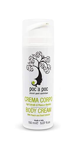POC A POC - Crème corporelle nourrissante, aux extraits de pêche et de basilic, à l'huile d'amande douce, au beurre de karité, à l'huile de jojoba, à l'huile de germe de blé. Format 150ml