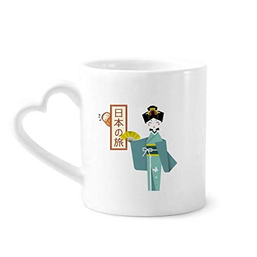 DIYthinker Tradicionales japonesas Antiguas de Chicas de café de la cerámica Taza de cerámica con la manija 12 oz Regalo del corazón