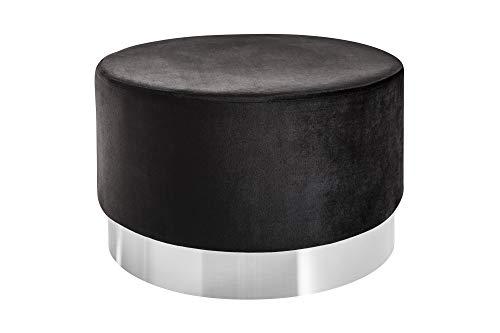 DuNord Design kruk bijzettafel 55 cm zwart zilver fluweel