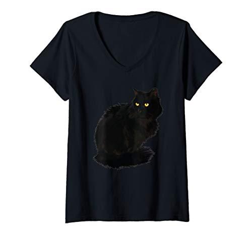 Damen Black Cat Shirt Women Spooky Yellow Eyes Cat Halloween T-Shirt mit V-Ausschnitt