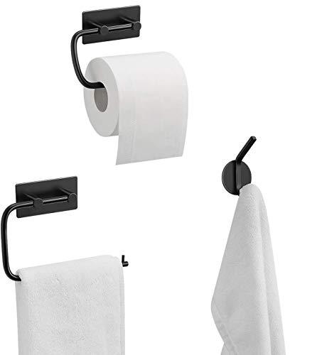 UMI. by Amazon - 3 teiliges Badzubehör Set, Handtuchhalter, Toilettenpapierhalter, Kleiderhaken, Badezimmer Set -Schwarz