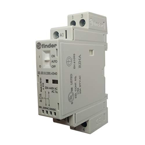 Finder Serie 22 – Contattore modulare 2na 230 V Agni selettore + indicatore + LED