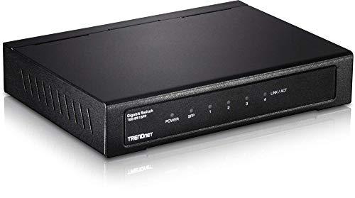 TRENDnet 4-Port Gigabit Switch mit SFP-Slot, 10 Gbps Schaltkapazität, Lüfterloses Design, Metall Gehäuse, Magnetische Befestigung, TEG-S51SFP