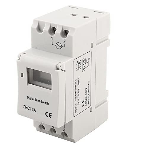 Interruptor temporizador, THC15A 220-240VAC 20A Carril DIN Interruptor temporizador programable digital Número programable 8 interruptores/día