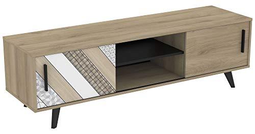Mueble TV Comedor 2 Puertas correderas Estilo Industrial Color Roble Salon Mesa Banco Television 151X45X42 cm