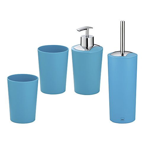 Kela Set de Salle de Bain Marta, 4 Pièces, 1 Distributeur à savon - 2 Gobelets - 1 Brosse WC, Plastique 390217, Bleu turquoise