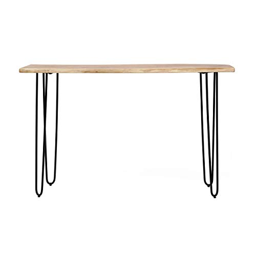Christopher Knight Home Plumb Handcrafted Modern Industrial Acacia Wood Console Table with Hairpin Legs, Black + Natural