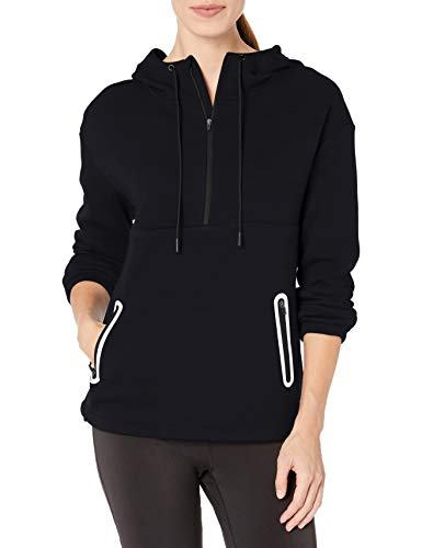 Amazon Essentials Damen Fleece Lined Pullover Anorak Athletic-hoodies, Schwarz, US M (EU M - L)