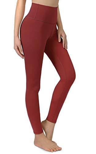 JoyGo High Waisted Leggings for Women, Workout Leggings for Women Ultra Soft Yoga Leggings with Inner Pocket, Wine-Red Size L