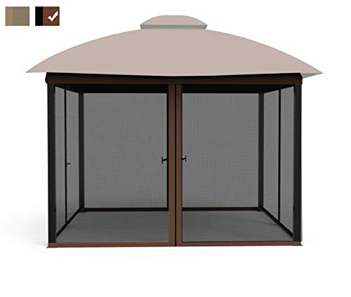 COZYVIDA Gazebo Mosquito Netting Screen 4-Panels Universal Replacement for Patio, Outdoor Canopy, Garden and Backyard (Only Netting Sidewalls) (10' x 10', Black)