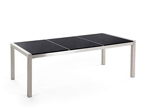 Beliani Moderner Gartentisch 220 cm 3 Tischplatten Steingemisch schwarz poliert Grosseto