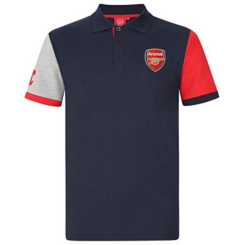 FC Arsenal Herren Polo-Shirt mit originalem Fußball-Wappen - Geschenk - Dunkelblau mit Kontrastärmeln - M