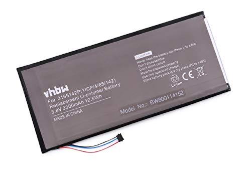 vhbw Li-Polymer Akku 3300mAh (3.7V) für Tablet Netbook Pad Acer Iconia One 7 B1-730HD 16GB Wi-Fi, 7 B1-730HD-170L wie 3165142P, KT.0010F.001, u.a.