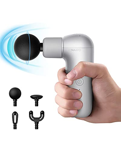 Naipo Mini Massage Gun Portable Deep Tissue Back Massager Electric Handheld Percussion Massagers Muscle Soreness Relief, Ergonomic Handle, USB Charging for Gym Office Home, Gift Idea for Women&Men